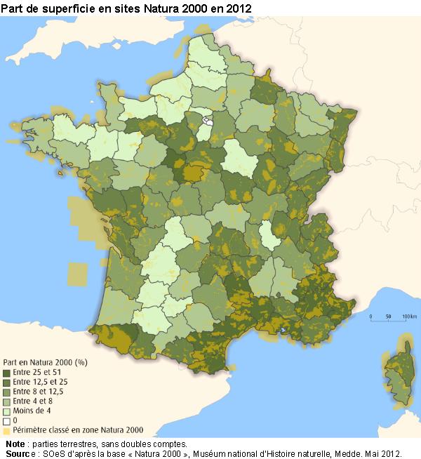 La superficie des sites Natura 2000 en France métropolitaine